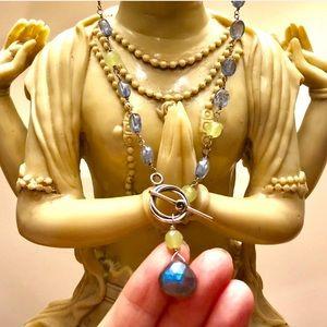 Artisan Labradorite, Pearl & Jade Necklace NWOT